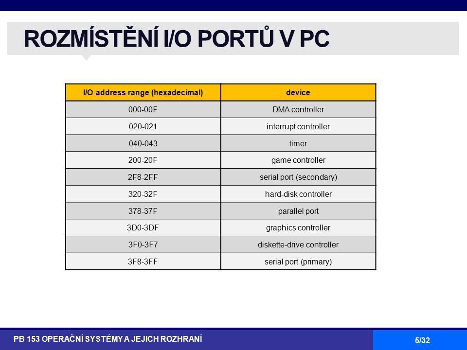 5/32 ROZMÍSTĚNÍ I/O PORTŮ V PC PB 153 OPERAČNÍ SYSTÉMY A JEJICH ROZHRANÍ I/O address range (hexadecimal)device 000-00FDMA controller 020-021interrupt controller 040-043timer 200-20Fgame controller 2F8-2FFserial port (secondary) 320-32Fhard-disk controller 378-37Fparallel port 3D0-3DFgraphics controller 3F0-3F7diskette-drive controller 3F8-3FFserial port (primary)