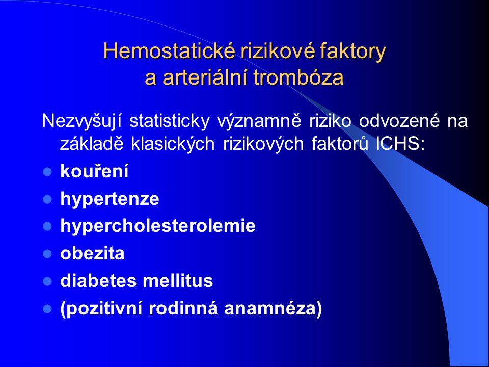 Hemostatické rizikové faktory a arteriální trombóza Nezvyšují statisticky významně riziko odvozené na základě klasických rizikových faktorů ICHS: kouř