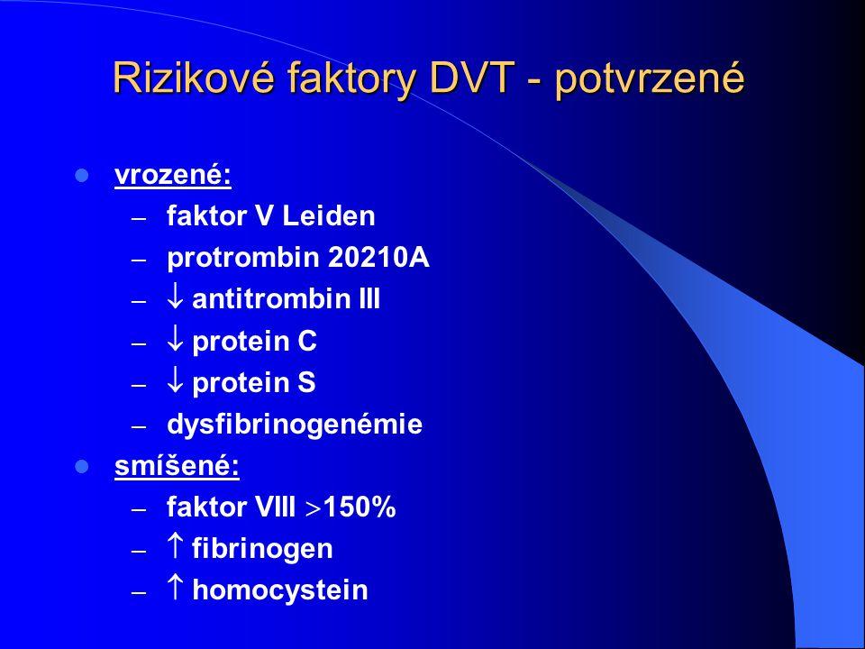Rizikové faktory DVT - potvrzené vrozené: – faktor V Leiden – protrombin 20210A –  antitrombin III –  protein C –  protein S – dysfibrinogenémie sm
