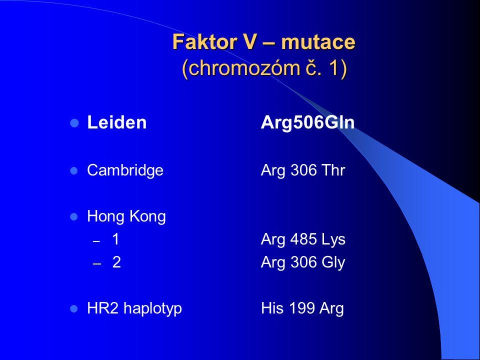 Faktor V – mutace (chromozóm č. 1) LeidenArg506Gln CambridgeArg 306 Thr Hong Kong – 1Arg 485 Lys – 2Arg 306 Gly HR2 haplotypHis 199 Arg