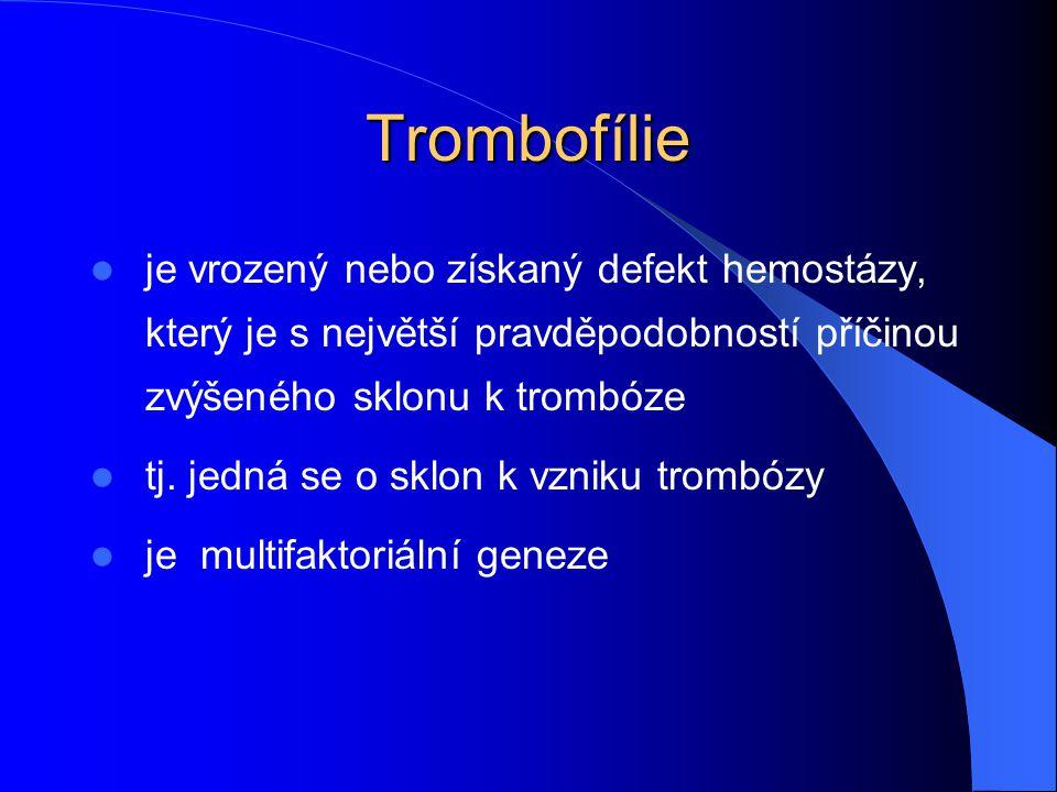 Trombofílie je vrozený nebo získaný defekt hemostázy, který je s největší pravděpodobností příčinou zvýšeného sklonu k trombóze tj. jedná se o sklon k