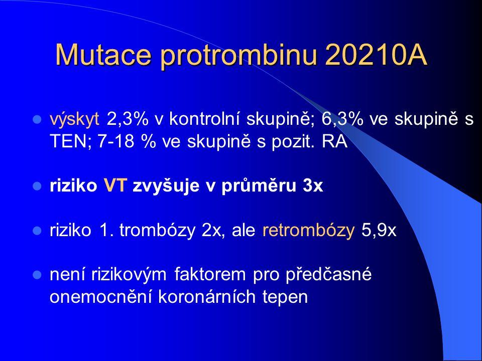 Mutace protrombinu 20210A výskyt 2,3% v kontrolní skupině; 6,3% ve skupině s TEN; 7-18 % ve skupině s pozit. RA riziko VT zvyšuje v průměru 3x riziko