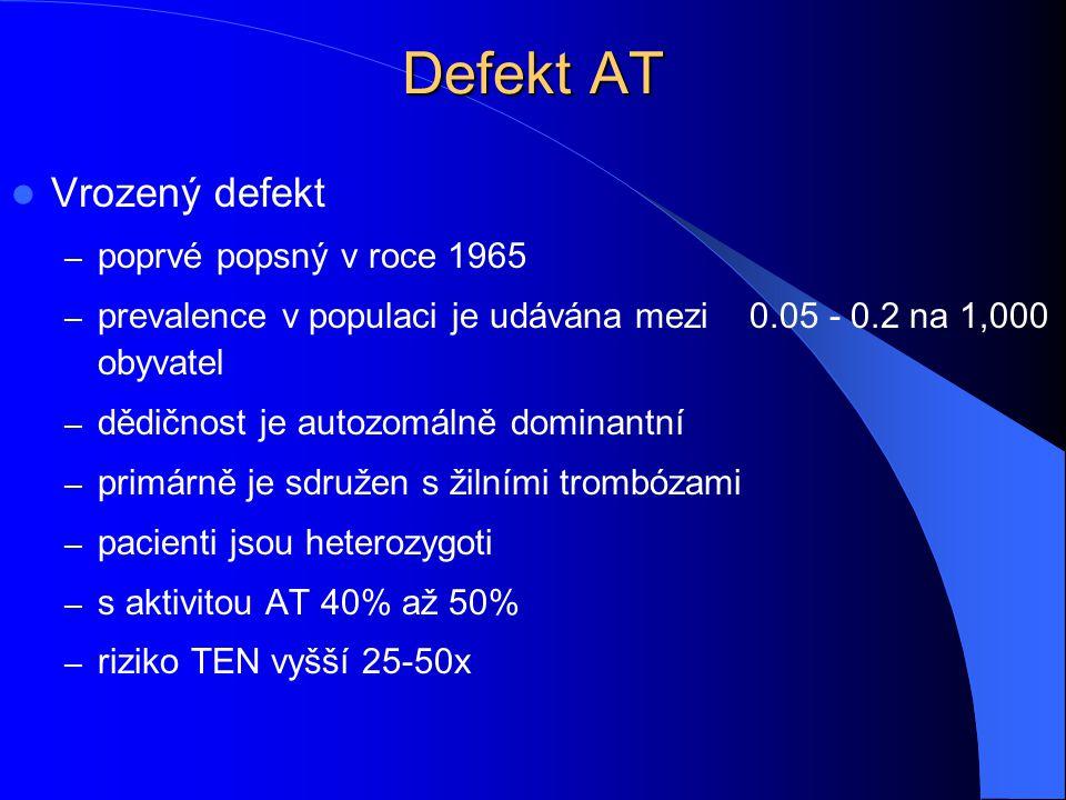 Defekt AT Vrozený defekt – poprvé popsný v roce 1965 – prevalence v populaci je udávána mezi 0.05 - 0.2 na 1,000 obyvatel – dědičnost je autozomálně d