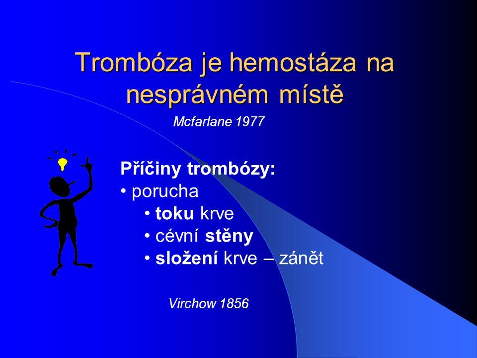 Trombóza je hemostáza na nesprávném místě Mcfarlane 1977 Příčiny trombózy: porucha toku krve cévní stěny složení krve – zánět Virchow 1856