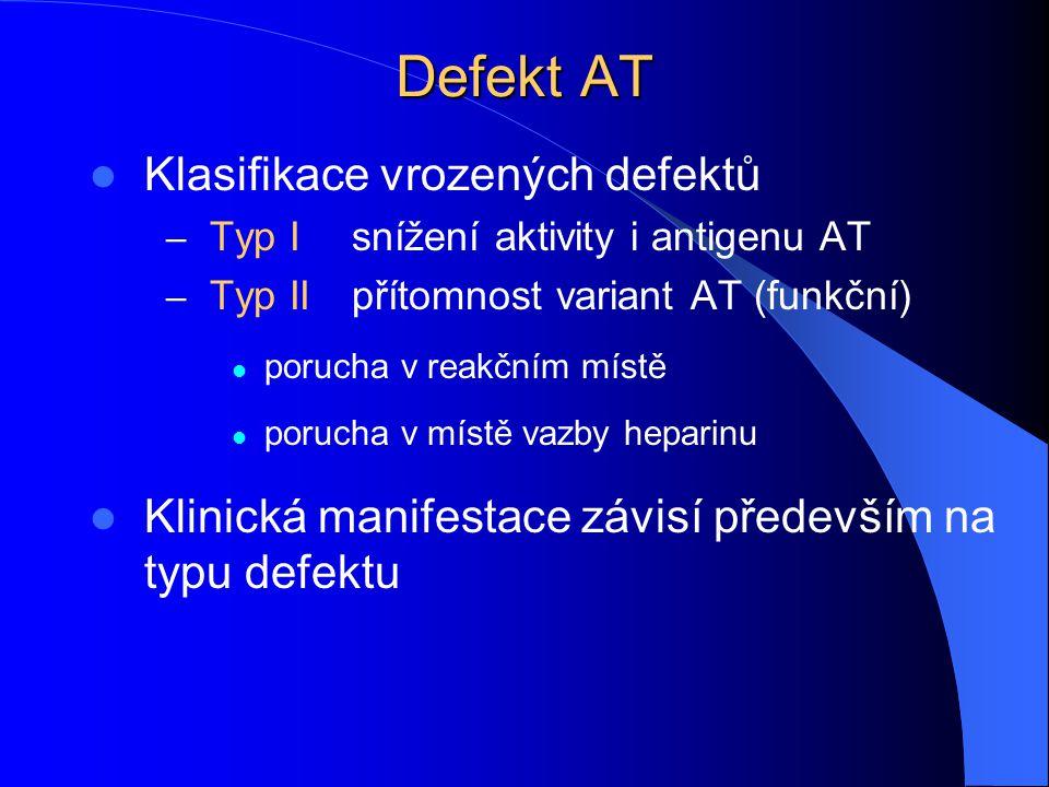 Defekt AT Klasifikace vrozených defektů – Typ Isnížení aktivity i antigenu AT – Typ IIpřítomnost variant AT (funkční) porucha v reakčním místě porucha