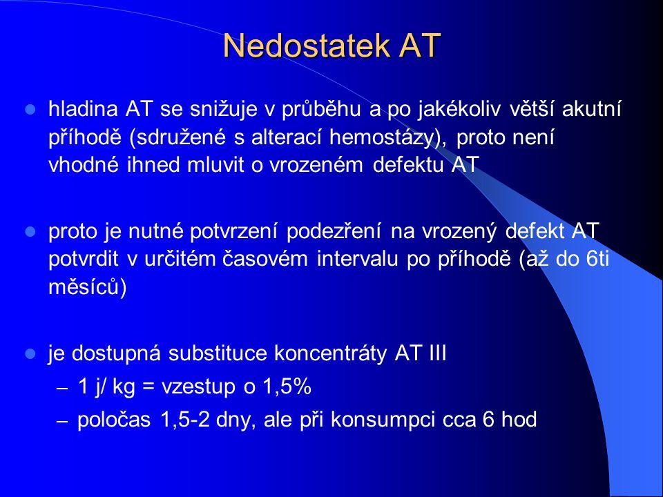 Nedostatek AT hladina AT se snižuje v průběhu a po jakékoliv větší akutní příhodě (sdružené s alterací hemostázy), proto není vhodné ihned mluvit o vr