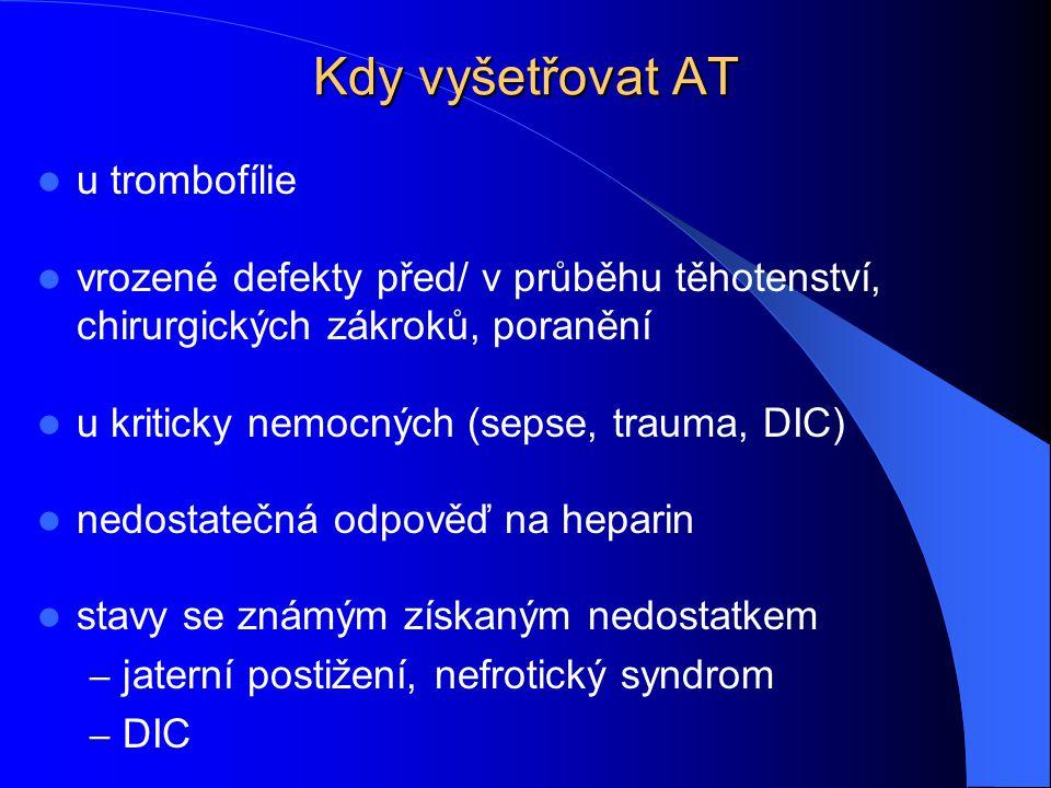Kdy vyšetřovat AT u trombofílie vrozené defekty před/ v průběhu těhotenství, chirurgických zákroků, poranění u kriticky nemocných (sepse, trauma, DIC)