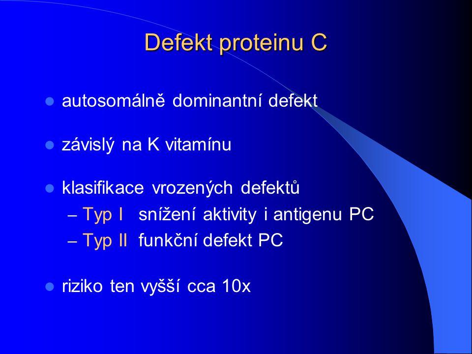 Defekt proteinu C autosomálně dominantní defekt závislý na K vitamínu klasifikace vrozených defektů – Typ Isnížení aktivity i antigenu PC – Typ IIfunk