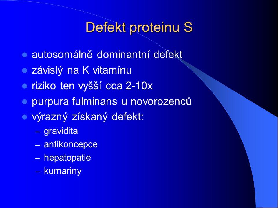 Defekt proteinu S autosomálně dominantní defekt závislý na K vitamínu riziko ten vyšší cca 2-10x purpura fulminans u novorozenců výrazný získaný defek