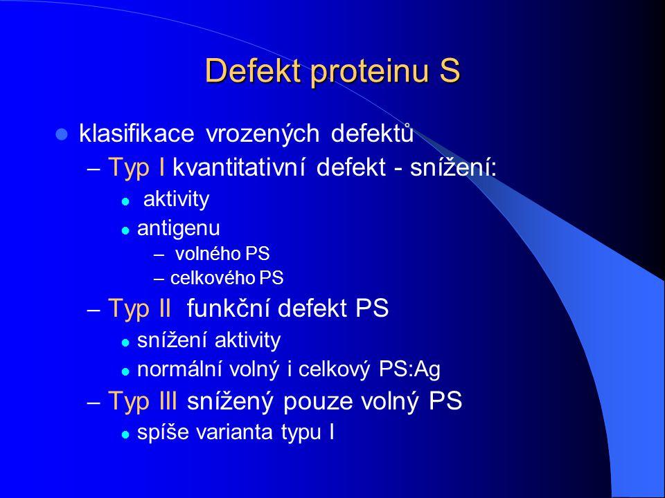 Defekt proteinu S klasifikace vrozených defektů – Typ I kvantitativní defekt - snížení: aktivity antigenu – volného PS –celkového PS – Typ IIfunkční d