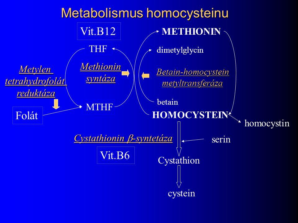 Metabolismus homocysteinu METHIONIN HOMOCYSTEIN Cystathion cystein THF Methioninsyntáza Cystathionin  -syntetáza MTHF Vit.B12 Folát Vit.B6 Metylentet
