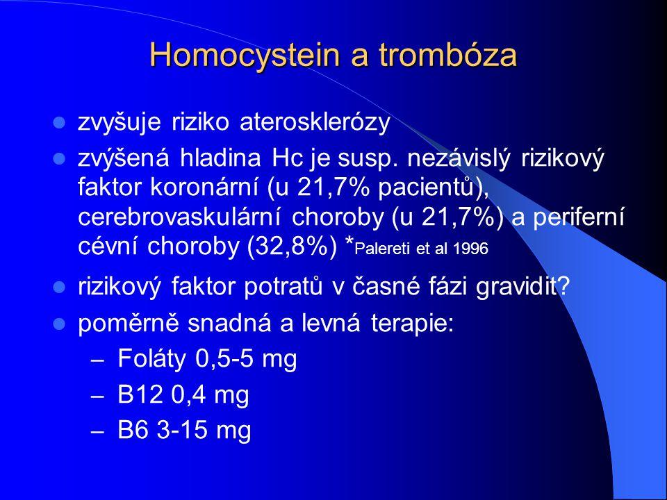 Homocystein a trombóza zvyšuje riziko aterosklerózy zvýšená hladina Hc je susp. nezávislý rizikový faktor koronární (u 21,7% pacientů), cerebrovaskulá
