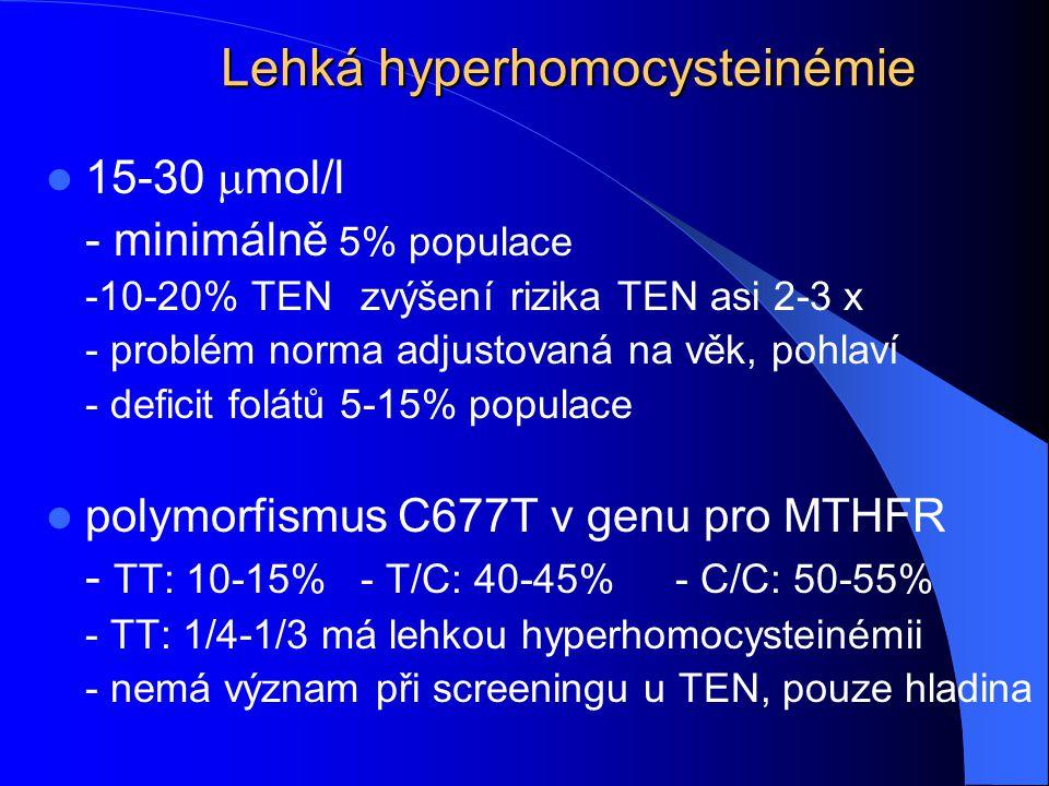 Lehká hyperhomocysteinémie 15-30  mol/l - minimálně 5% populace -10-20% TENzvýšení rizika TEN asi 2-3 x - problém norma adjustovaná na věk, pohlaví -