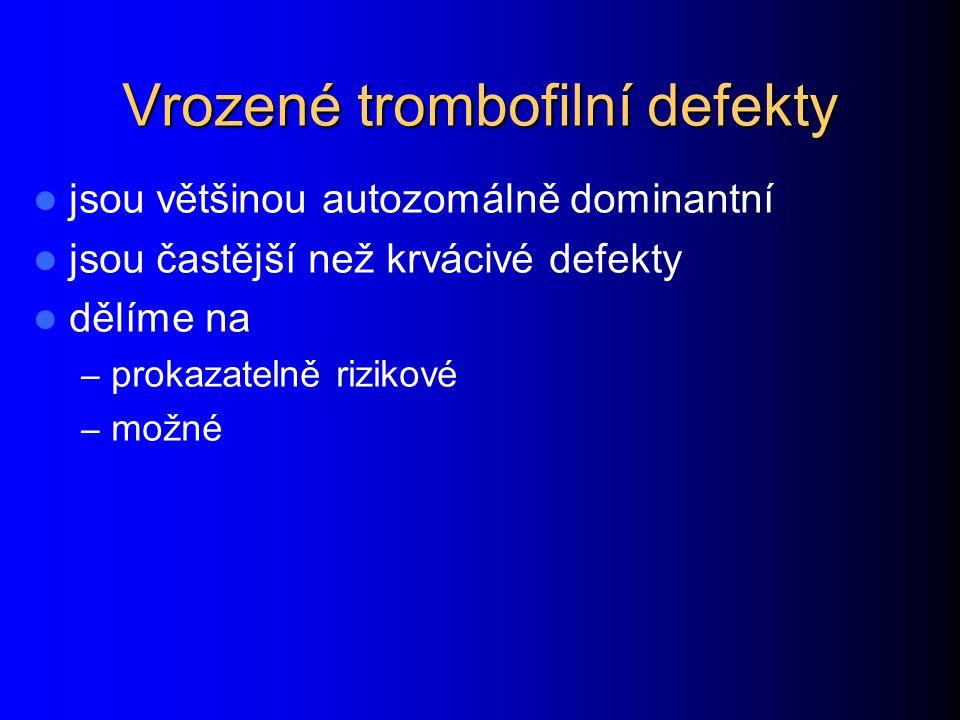 Trombofílie Trombofílie Poruchy koagulačních faktorů dysproteinémie – faktor V Leiden – protrombin 20210A – dysfibrinogenémie zvýšená hladina – faktor VIII – faktor IX – faktor XI – fibrinogenu – faktor VIIa * >150% proti <150%