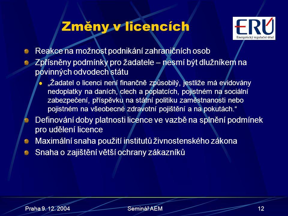 Praha 9. 12. 2004Seminář AEM13 Změny v licencích