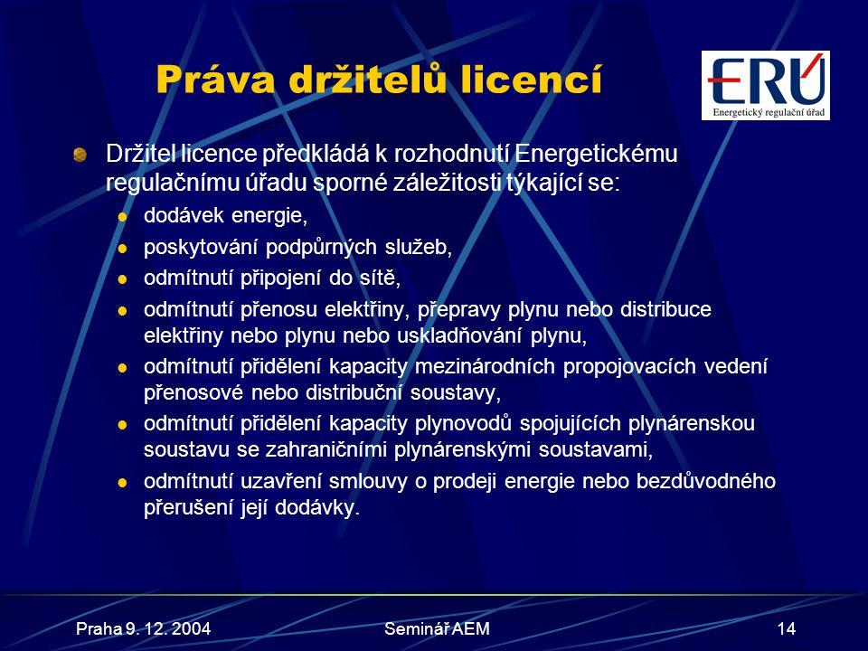Praha 9. 12. 2004Seminář AEM15 Povinnosti nad rámec licence