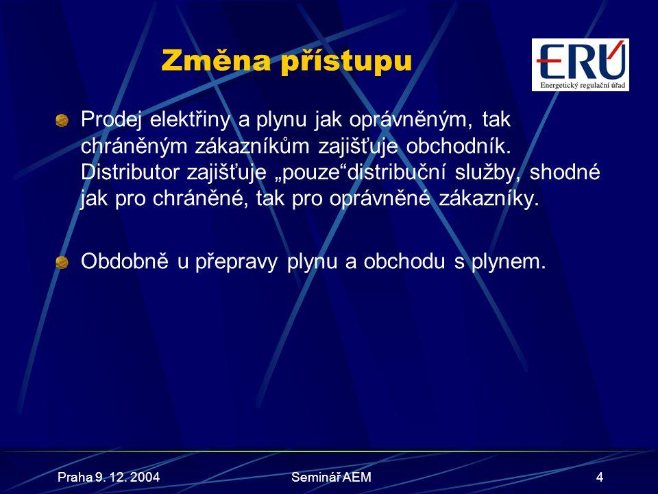 Praha 9.12. 2004Seminář AEM5 Změny v kompetencích ERÚ Uznávací orgán odborné kvalifikace zahr.
