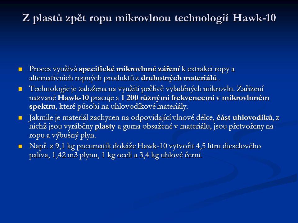 Z plastů zpět ropu mikrovlnou technologií Hawk-10 Z plastů zpět ropu mikrovlnou technologií Hawk-10 Proces využívá specifické mikrovlnné záření k extr