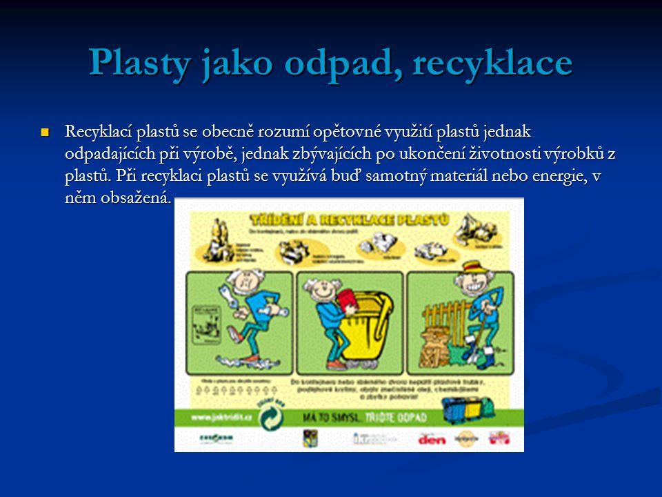 Plasty jako odpad, recyklace Recyklací plastů se obecně rozumí opětovné využití plastů jednak odpadajících při výrobě, jednak zbývajících po ukončení