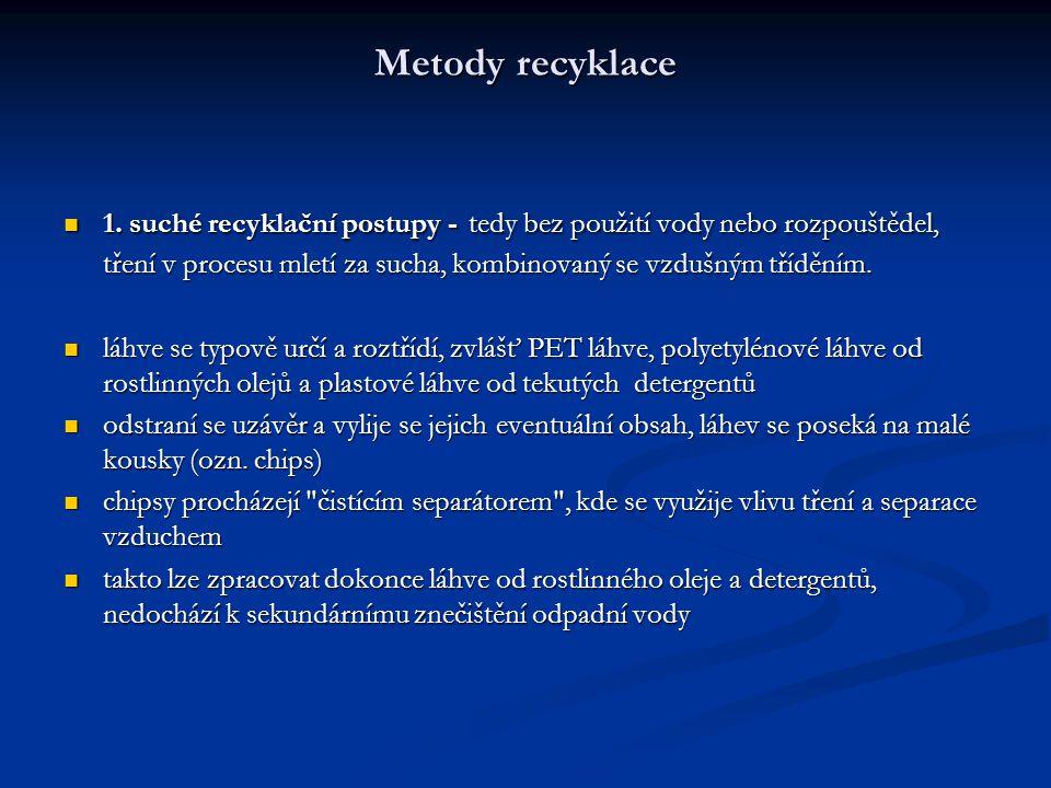 Metody recyklace Metody recyklace 1. suché recyklační postupy - tedy bez použití vody nebo rozpouštědel, tření v procesu mletí za sucha, kombinovaný s