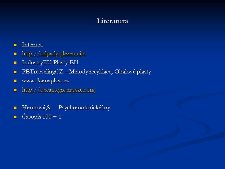 Literatura Internet: Internet: http://odpady.plezen-city http://odpady.plezen-city http://odpady.plezen-city IndustryEU-Plasty-EU IndustryEU-Plasty-EU