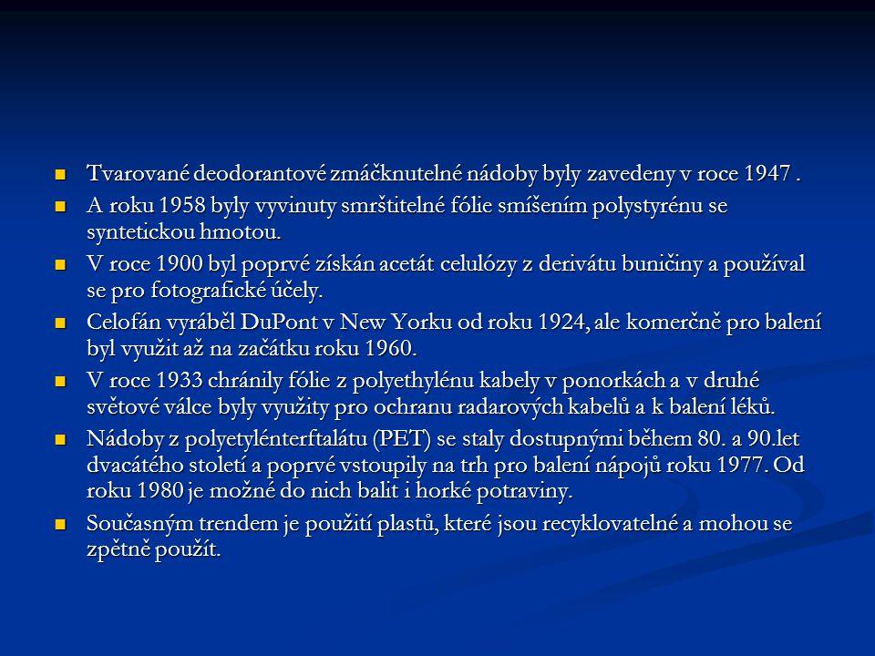 Tvarované deodorantové zmáčknutelné nádoby byly zavedeny v roce 1947. Tvarované deodorantové zmáčknutelné nádoby byly zavedeny v roce 1947. A roku 195