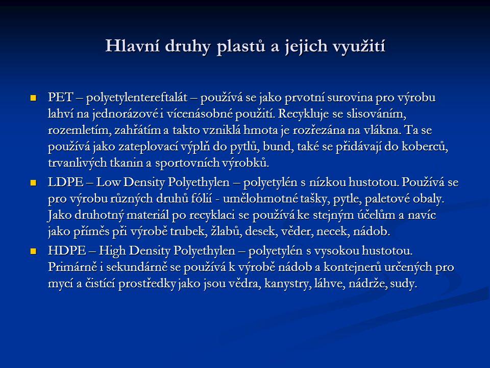 Hlavní druhy plastů a jejich využití PET – polyetylentereftalát – používá se jako prvotní surovina pro výrobu lahví na jednorázové i vícenásobné použi