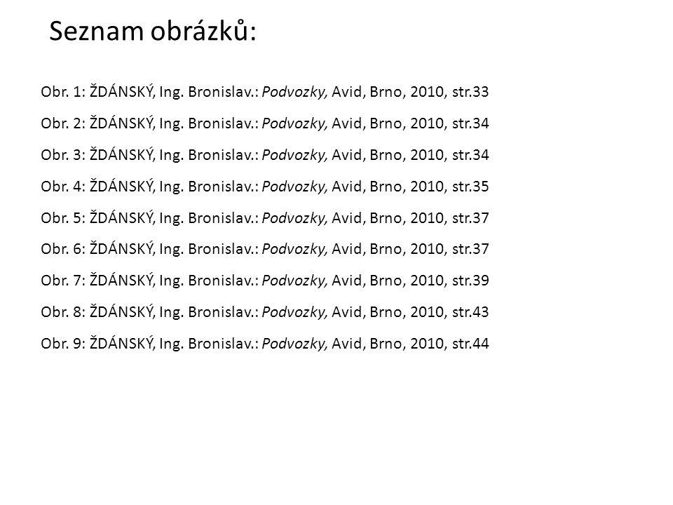 Seznam obrázků: Obr. 1: ŽDÁNSKÝ, Ing. Bronislav.: Podvozky, Avid, Brno, 2010, str.33 Obr. 2: ŽDÁNSKÝ, Ing. Bronislav.: Podvozky, Avid, Brno, 2010, str