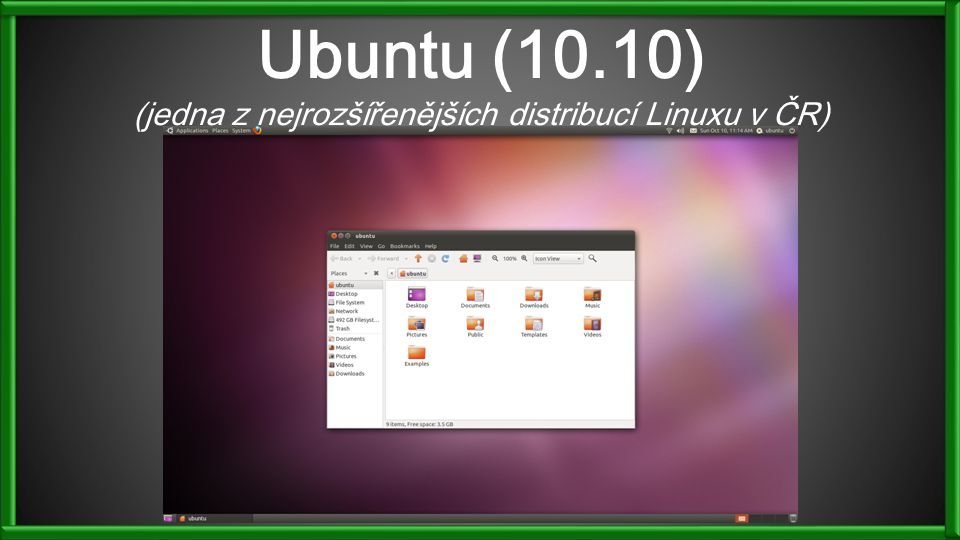 Ubuntu (10.10) (jedna z nejrozšířenějších distribucí Linuxu v ČR)