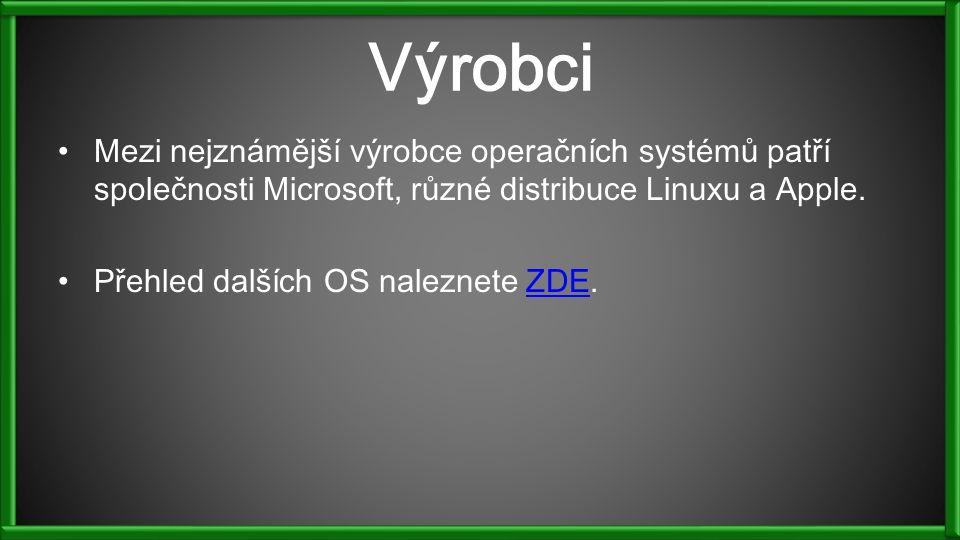 Výrobci Mezi nejznámější výrobce operačních systémů patří společnosti Microsoft, různé distribuce Linuxu a Apple.
