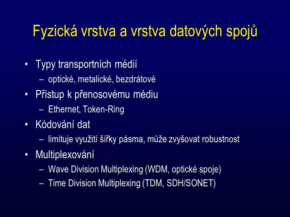 Fyzická vrstva a vrstva datových spojů Typy transportních médií –optické, metalické, bezdrátové Přístup k přenosovému médiu –Ethernet, Token-Ring Kódování dat –limituje využití šířky pásma, může zvyšovat robustnost Multiplexování –Wave Division Multiplexing (WDM, optické spoje) –Time Division Multiplexing (TDM, SDH/SONET)