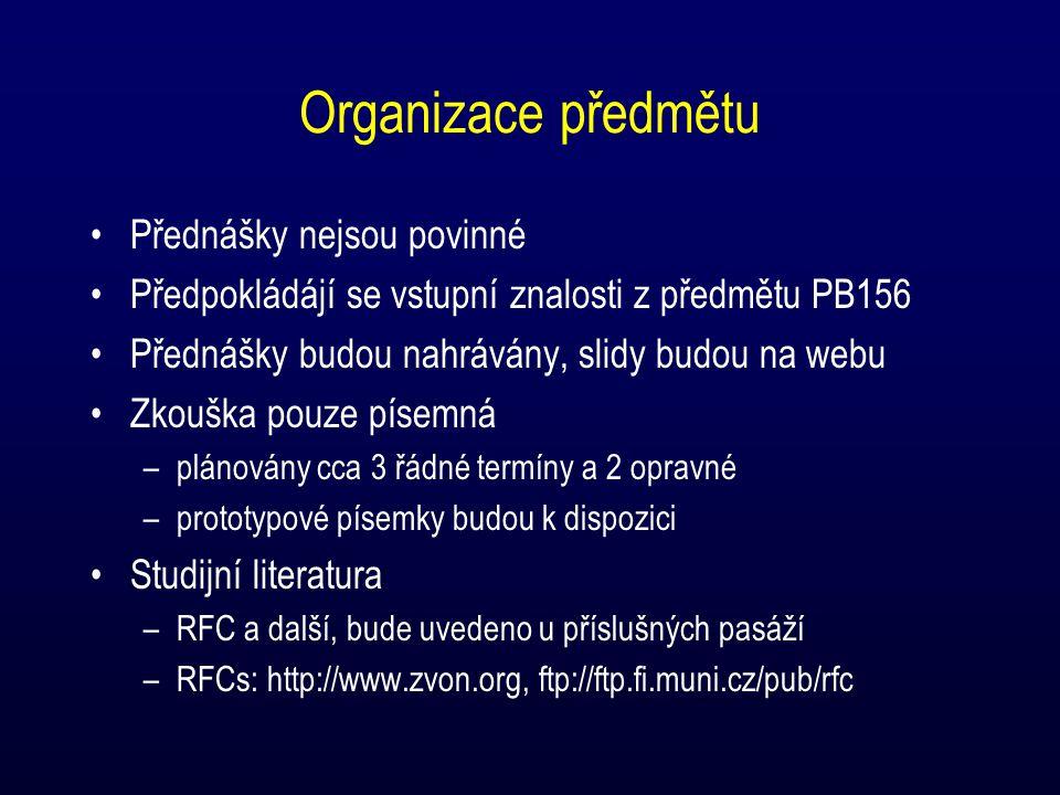 Organizace předmětu Přednášky nejsou povinné Předpokládájí se vstupní znalosti z předmětu PB156 Přednášky budou nahrávány, slidy budou na webu Zkouška pouze písemná –plánovány cca 3 řádné termíny a 2 opravné –prototypové písemky budou k dispozici Studijní literatura –RFC a další, bude uvedeno u příslušných pasáží –RFCs: http://www.zvon.org, ftp://ftp.fi.muni.cz/pub/rfc