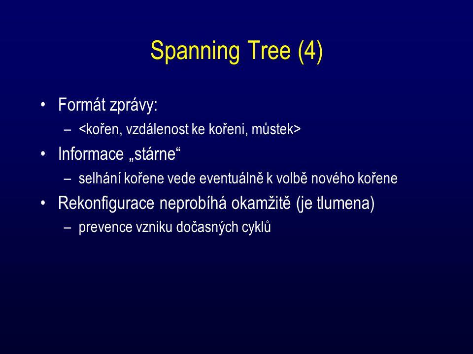 """Spanning Tree (4) Formát zprávy: – Informace """"stárne –selhání kořene vede eventuálně k volbě nového kořene Rekonfigurace neprobíhá okamžitě (je tlumena) –prevence vzniku dočasných cyklů"""