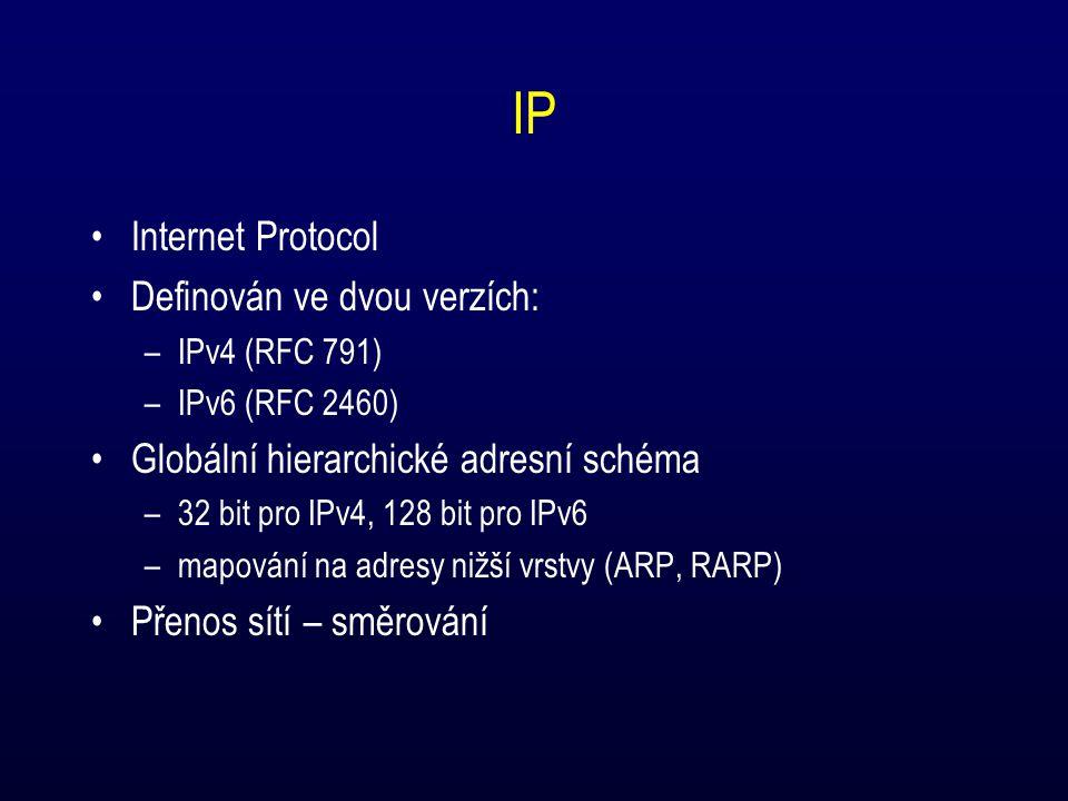 IP Internet Protocol Definován ve dvou verzích: –IPv4 (RFC 791) –IPv6 (RFC 2460) Globální hierarchické adresní schéma –32 bit pro IPv4, 128 bit pro IPv6 –mapování na adresy nižší vrstvy (ARP, RARP) Přenos sítí – směrování
