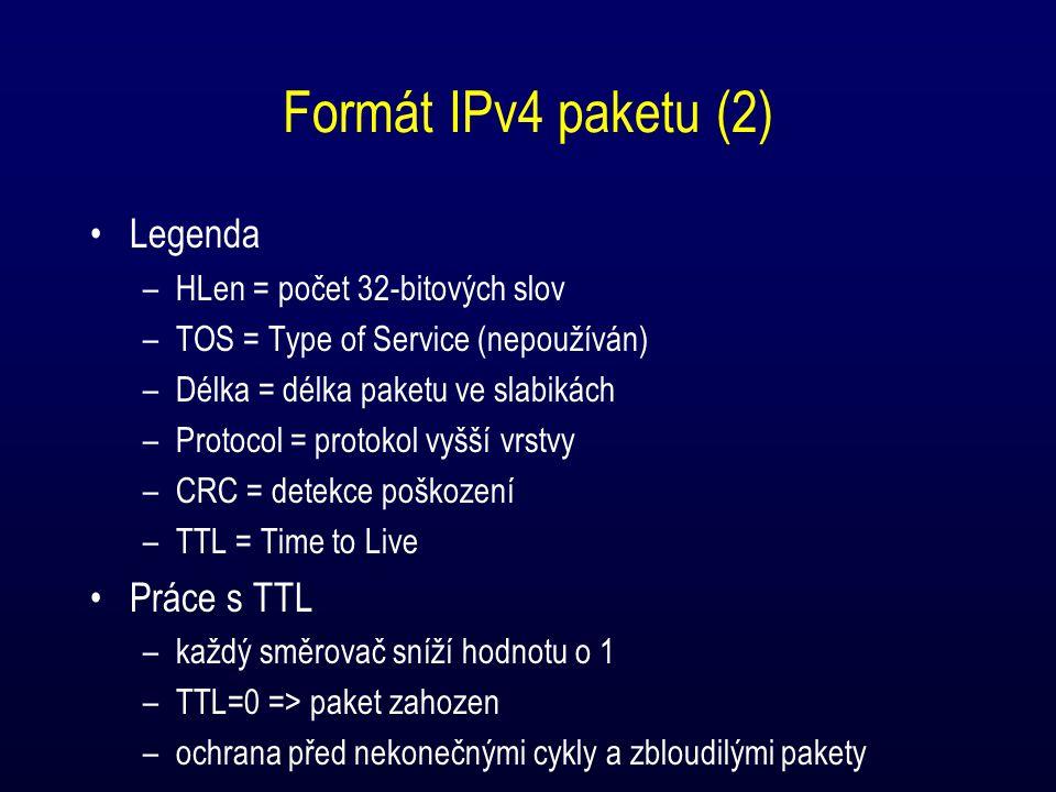 Formát IPv4 paketu (2) Legenda –HLen = počet 32-bitových slov –TOS = Type of Service (nepoužíván) –Délka = délka paketu ve slabikách –Protocol = protokol vyšší vrstvy –CRC = detekce poškození –TTL = Time to Live Práce s TTL –každý směrovač sníží hodnotu o 1 –TTL=0 => paket zahozen –ochrana před nekonečnými cykly a zbloudilými pakety
