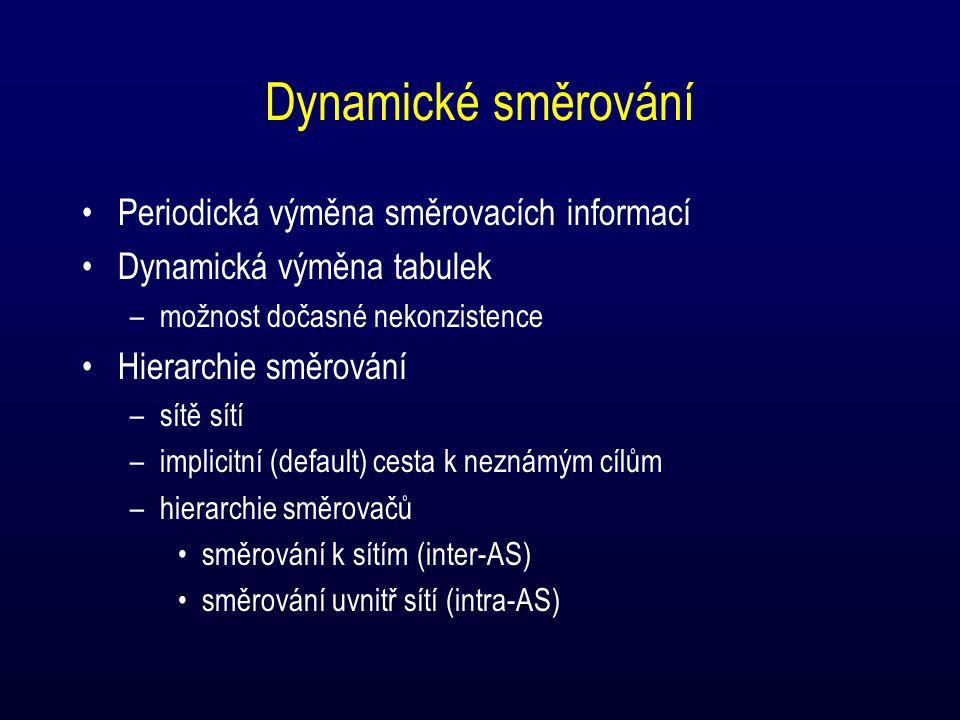 Dynamické směrování Periodická výměna směrovacích informací Dynamická výměna tabulek –možnost dočasné nekonzistence Hierarchie směrování –sítě sítí –i