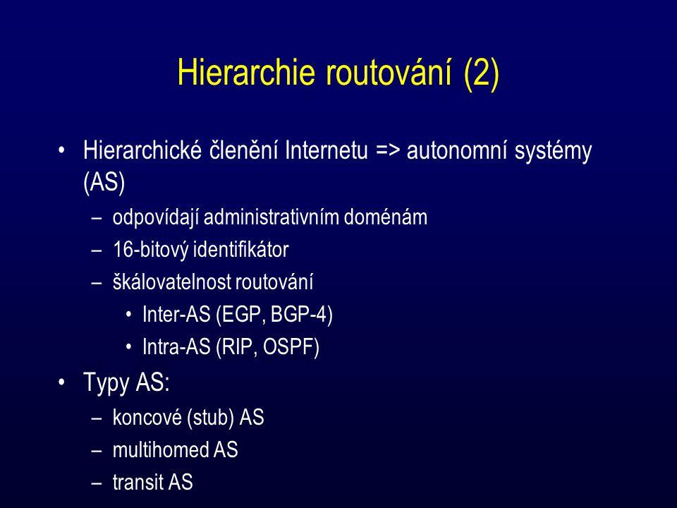 Hierarchie routování (2) Hierarchické členění Internetu => autonomní systémy (AS) –odpovídají administrativním doménám –16-bitový identifikátor –škálovatelnost routování Inter-AS (EGP, BGP-4) Intra-AS (RIP, OSPF) Typy AS: –koncové (stub) AS –multihomed AS –transit AS