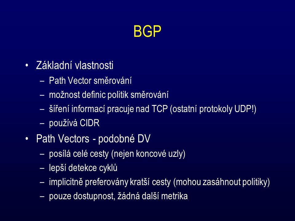 BGP Základní vlastnosti –Path Vector směrování –možnost definic politik směrování –šíření informací pracuje nad TCP (ostatní protokoly UDP!) –používá CIDR Path Vectors - podobné DV –posílá celé cesty (nejen koncové uzly) –lepší detekce cyklů –implicitně preferovány kratší cesty (mohou zasáhnout politiky) –pouze dostupnost, žádná další metrika