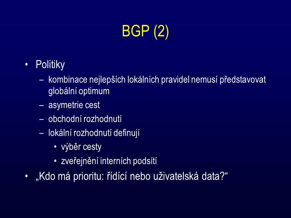 """BGP (2) Politiky –kombinace nejlepších lokálních pravidel nemusí představovat globální optimum –asymetrie cest –obchodní rozhodnutí –lokální rozhodnutí definují výběr cesty zveřejnění interních podsítí """"Kdo má prioritu: řídící nebo uživatelská data?"""