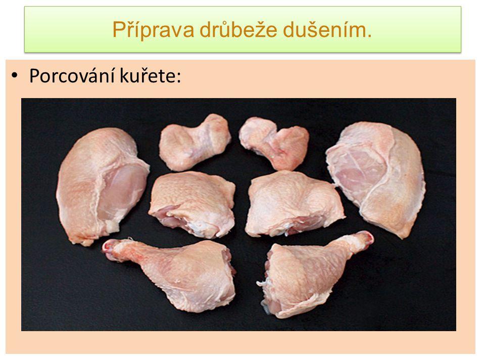 Příprava drůbeže dušením.TP - Kuře na paprice.