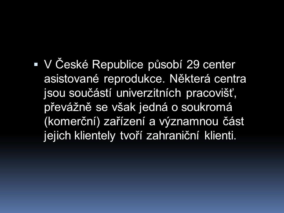  V České Republice působí 29 center asistované reprodukce. Některá centra jsou součástí univerzitních pracovišť, převážně se však jedná o soukromá (k