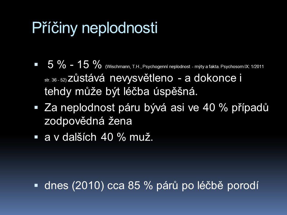 Příčiny neplodnosti  5 % - 15 % (Wischmann, T.H., Psychogenní neplodnost - mýty a fakta. Psychosom IX: 1/2011 str. 36 - 52) zůstává nevysvětleno - a
