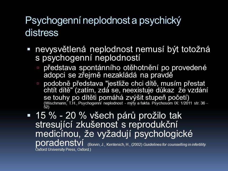 Psychogenní neplodnost a psychický distress  nevysvětlená neplodnost nemusí být totožná s psychogenní neplodností  představa spontánního otěhotnění