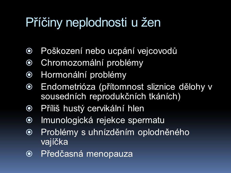 Příčiny neplodnosti u žen  Poškození nebo ucpání vejcovodů  Chromozomální problémy  Hormonální problémy  Endometrióza (přítomnost sliznice dělohy