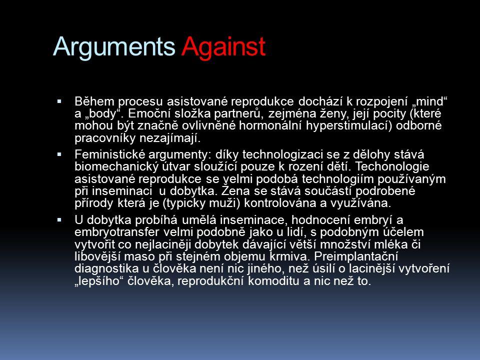 """Arguments Against  Během procesu asistované reprodukce dochází k rozpojení """"mind"""" a """"body"""". Emoční složka partnerů, zejména ženy, její pocity (které"""