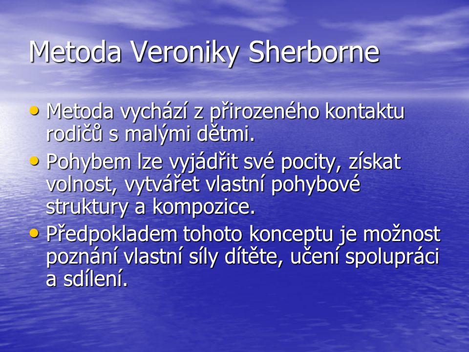 Metoda Veroniky Sherborne Metoda vychází z přirozeného kontaktu rodičů s malými dětmi. Metoda vychází z přirozeného kontaktu rodičů s malými dětmi. Po