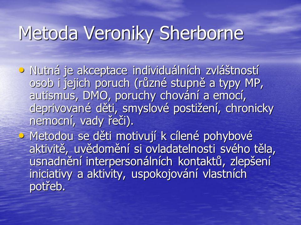 Metoda Veroniky Sherborne Nutná je akceptace individuálních zvláštností osob i jejich poruch (různé stupně a typy MP, autismus, DMO, poruchy chování a emocí, deprivované děti, smyslové postižení, chronicky nemocní, vady řeči).