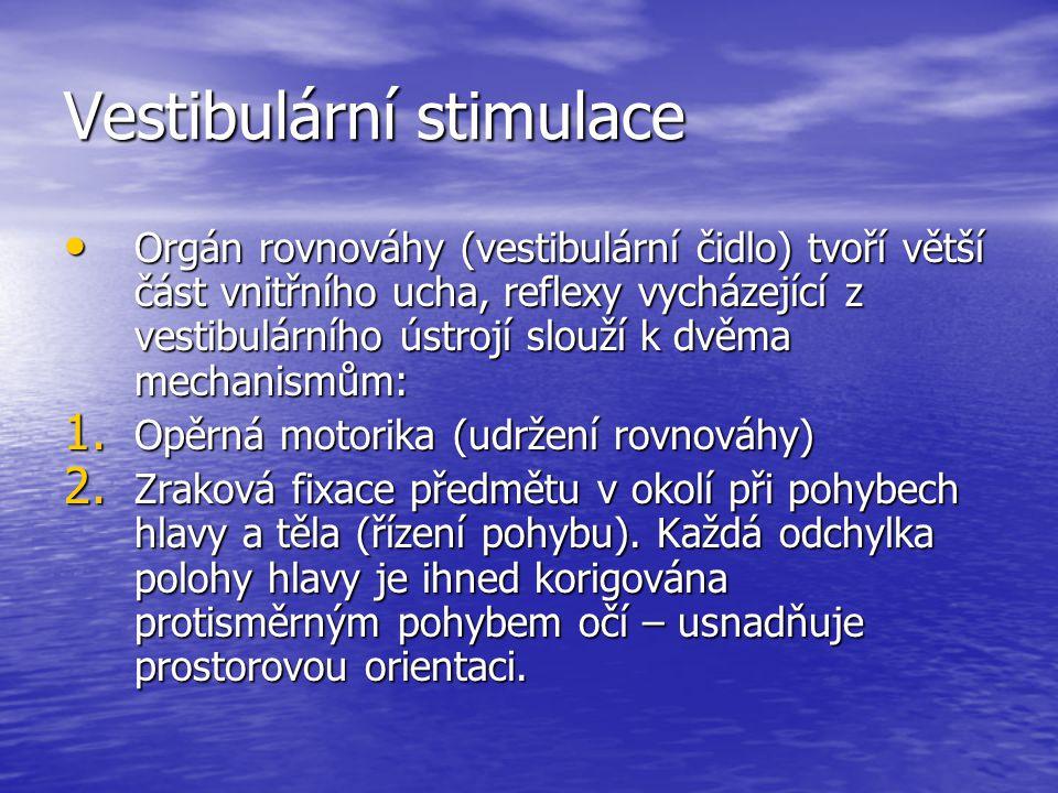 Vestibulární stimulace Orgán rovnováhy (vestibulární čidlo) tvoří větší část vnitřního ucha, reflexy vycházející z vestibulárního ústrojí slouží k dvěma mechanismům: Orgán rovnováhy (vestibulární čidlo) tvoří větší část vnitřního ucha, reflexy vycházející z vestibulárního ústrojí slouží k dvěma mechanismům: 1.