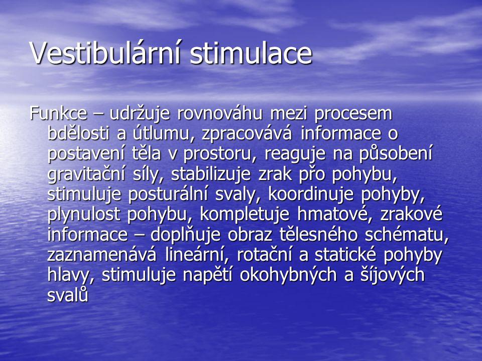 Vestibulární stimulace Funkce – udržuje rovnováhu mezi procesem bdělosti a útlumu, zpracovává informace o postavení těla v prostoru, reaguje na působení gravitační síly, stabilizuje zrak přo pohybu, stimuluje posturální svaly, koordinuje pohyby, plynulost pohybu, kompletuje hmatové, zrakové informace – doplňuje obraz tělesného schématu, zaznamenává lineární, rotační a statické pohyby hlavy, stimuluje napětí okohybných a šíjových svalů