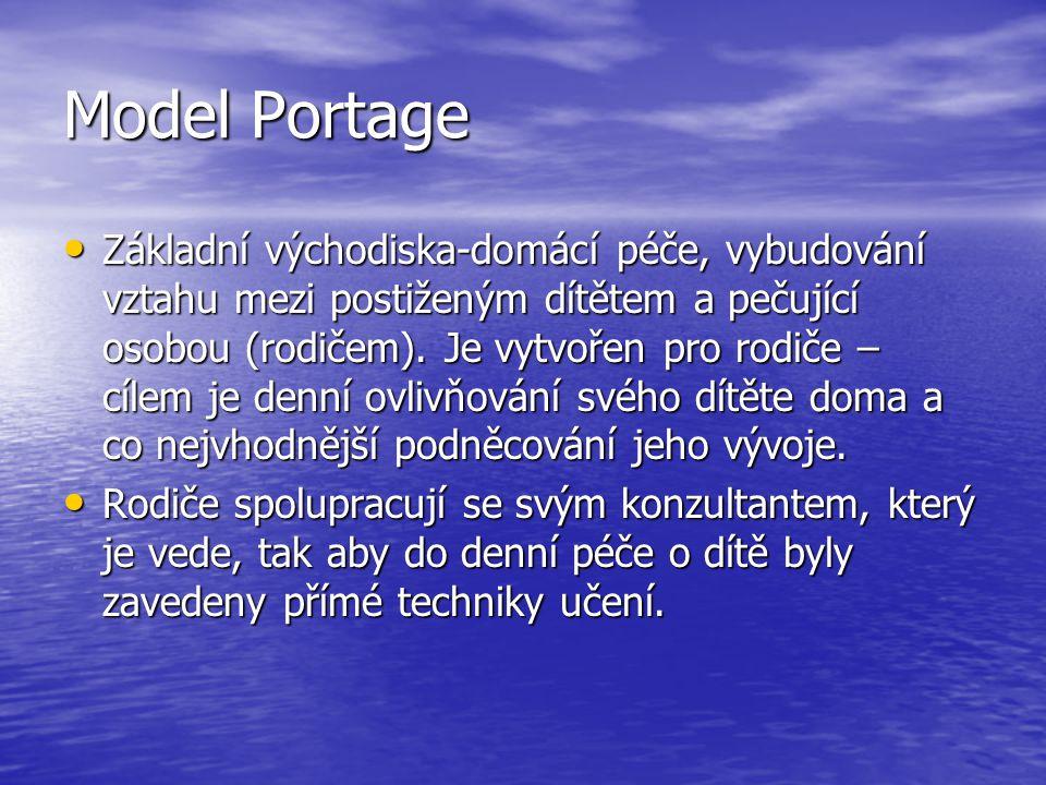 Model Portage Základní východiska-domácí péče, vybudování vztahu mezi postiženým dítětem a pečující osobou (rodičem). Je vytvořen pro rodiče – cílem j